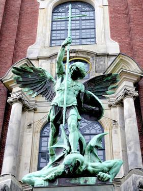 Sculpture of the Archangel Michael Defeating Satan, St Michael's Church, Hamburg, Germany by Miva Stock