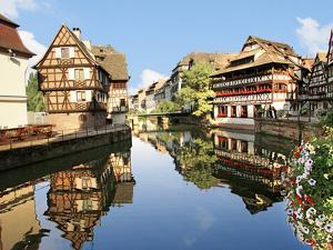Timbered Buildings, La Petite France Canal, Strasbourg, Alsace, France by Miva Stock