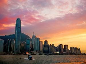 Victoria Peak as Seen from a Boat in Victoria Harbor, Hong Kong, China by Miva Stock