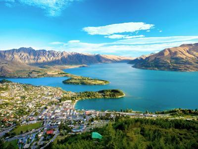 View Towards Queenstown, South Island, New Zealand by Miva Stock