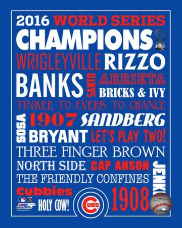 MLB: Chicago Cubs 2016 World Series Champions Name Composite