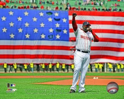 MLB David Ortiz addresses the crowd on April 20, 2013 at Fenway Park