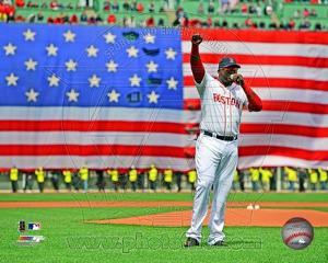 MLB David Ortiz addresses the crowd on April 20, 2013 at Fenway Park