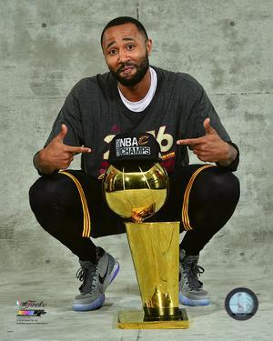 Mo Williams with the NBA Championship Trophy Game 7 of the 2016 NBA Finals