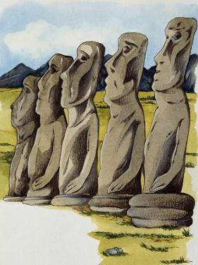 Moai, Monolithic Statue on Easter Island, Chile