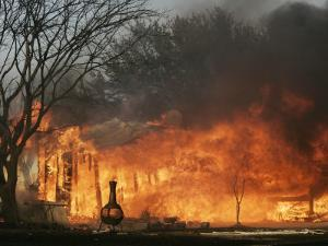 Mobile Home Sits Competely Engulfed in Flames in South Arlington, Texas