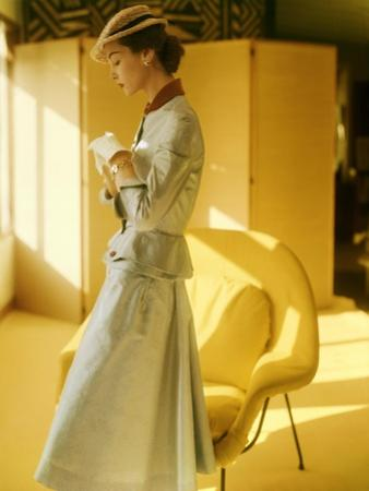 Model Wearing a Gold Silk Taffeta Velvet Buttoned Suit