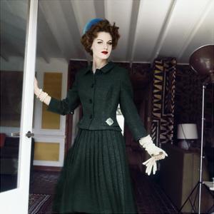 Model Wearing Green Wool Tweed Suit