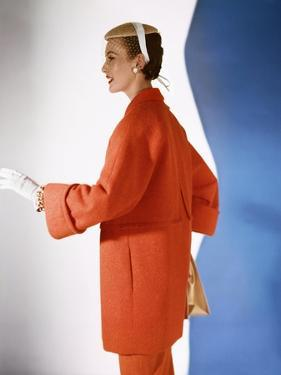 Model Wearing Pastel-Red Three Quarter Coat in Wool-And-Rabbit'S-Hair with Flat Straw Cap