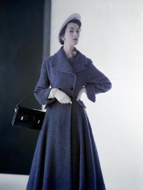 Model Wearing Sky Blue Spring Coat in Mixture of Wool and Rabbit'S-Hair and Hat of Panama Straw