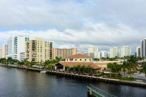 Modern buildings on the Intracoastal Waterway in Fort Lauderdale, Broward County, Florida, USA