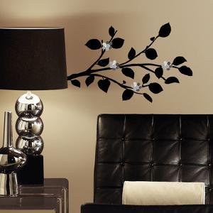 Modern Realistic Branch Peel And Stick Wall Decals With Bendable Flower Mirrors