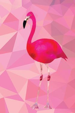 Pink Flamingo Bird Triangle Vector Poster by Moetz