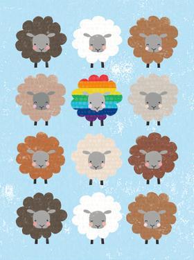Be Ewe Brown and Rainbow Sheep 5x7 by Moira Hershey