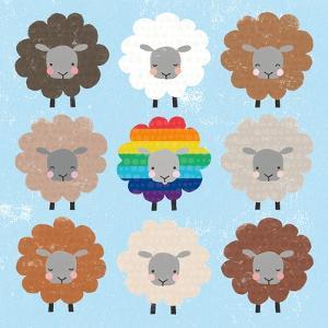 Be Ewe Brown and Rainbow Sheep Sq by Moira Hershey