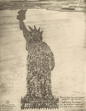 Human Statue of Liberty. 18,000 Officers and Men at Camp Dodge, Des Moines, Ia. by Mole Thomas