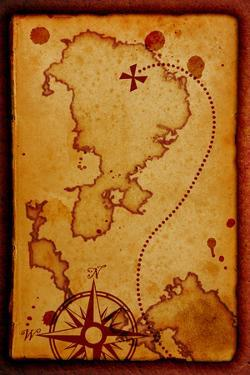 Old Map With A Compass On It by molodec