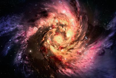 Spiral Galaxy In A Dark Space, Abstract Background by molodec
