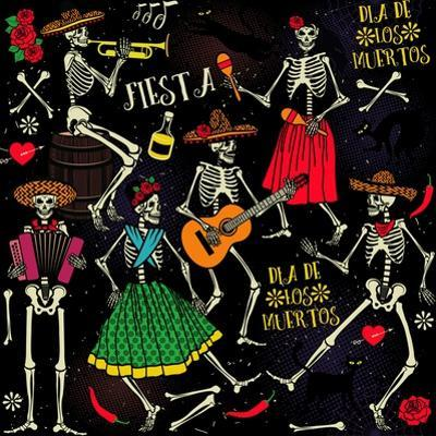 Seamless Pattern with Skeletons. Day of the Dead (Dia De Los Muertos). the Skeleton Dance. by Moloko88