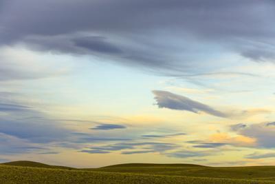 Prairie under Cloudy Sky at Sunset