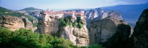 Monastery on the Top of a Cliff, Roussanou Monastery, Meteora, Thessaly, Greece