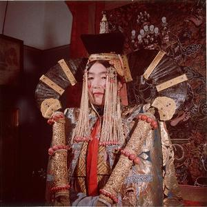 Mongolian Woman Dressed in the Bridal Costume of the Great Khans