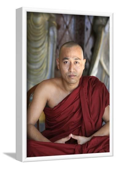 Monk, Dharmikarama Burmese temple, Penang, Malaysia-Godong-Framed Photographic Print