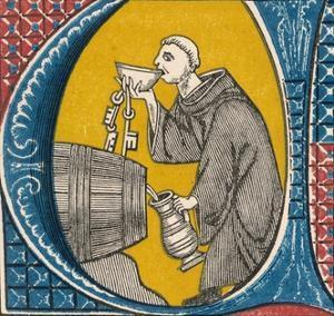 Monk in Wine-Cellar