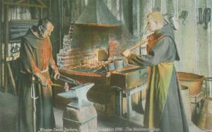 Monks in Blacksmith Shop, Santa Barbara Mission, California