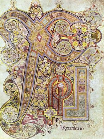 Monogram Page from the Book of Kells Christi Auteum Generatio, C800