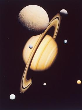 Montage of Saturn and Satellites Taken by Voyager 1 and 2, Titan Iapetus and Tethys Mimas and Rhea