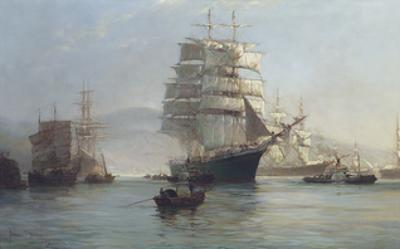 Chinese Port - Morning Departures by Montague Dawson
