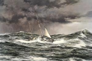 Horn Abeam, Sir Francis Chichester's Yacht, 'Gypsy Moth IV' by Montague Dawson
