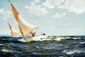 Neck and Neck 1935 by Montague Dawson