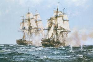 The Action Between the Java and Constitution by Montague Dawson