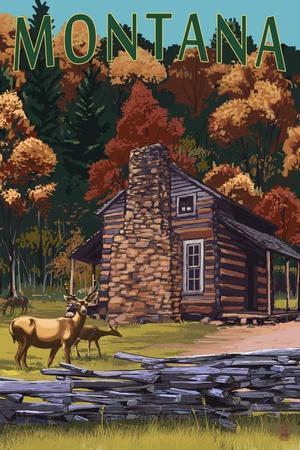 https://imgc.allpostersimages.com/img/posters/montana-deer-family-and-cabin-scene_u-L-Q1GQO9F0.jpg?p=0