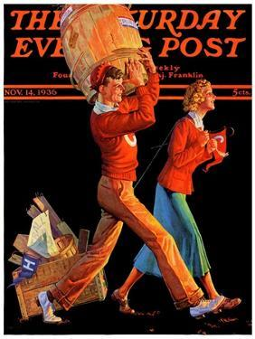"""""""After the Game,"""" Saturday Evening Post Cover, November 14, 1936 by Monte Crews"""