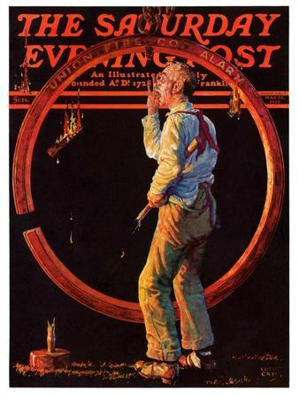 """""""Sounding the Fire Alarm,"""" Saturday Evening Post Cover, May 22, 1937"""