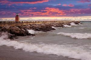 Lighthouse at Sunset, Michigan 09 by Monte Nagler