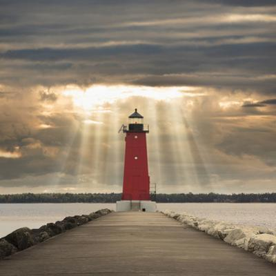 Manistique Lighthouse and Sunbeams, Manistique, Michigan '14
