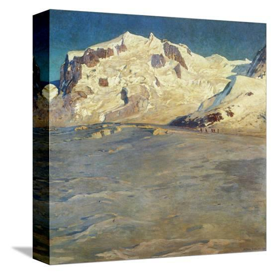 Monte Rosa at Sunset-Eugen Bracht-Stretched Canvas
