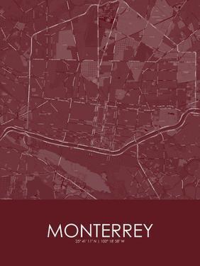 Monterrey, Mexico Red Map