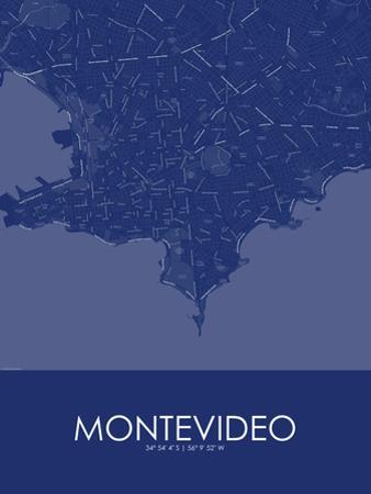 Montevideo, Uruguay Blue Map