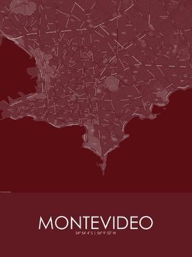 Montevideo, Uruguay Red Map