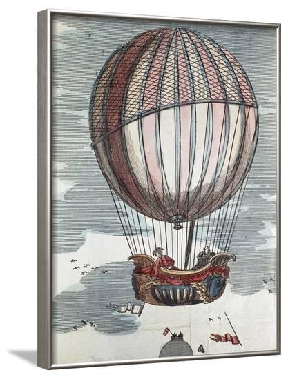 Montgolfier Brothers in a Hot-Air Balloon of the 18th Century--Framed Art Print