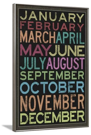 Months of the Year Colorful Text--Framed Art Print