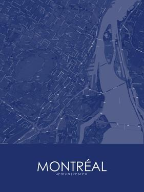 Montreal, Canada Blue Map