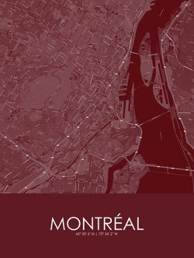 Montreal, Canada Red Map