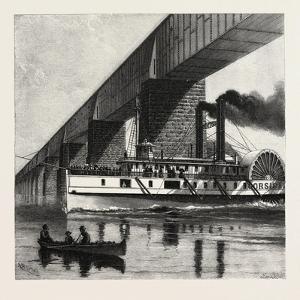 Montreal, Mail Steamer Passing under Victoria Bridge, Canada, Nineteenth Century