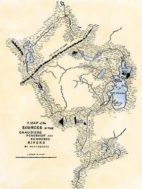Montresor's Map of Inland Maine, Used for Arnold's March to Quebec, 1775